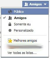 Opções de nível de exposição das publicações do facebook